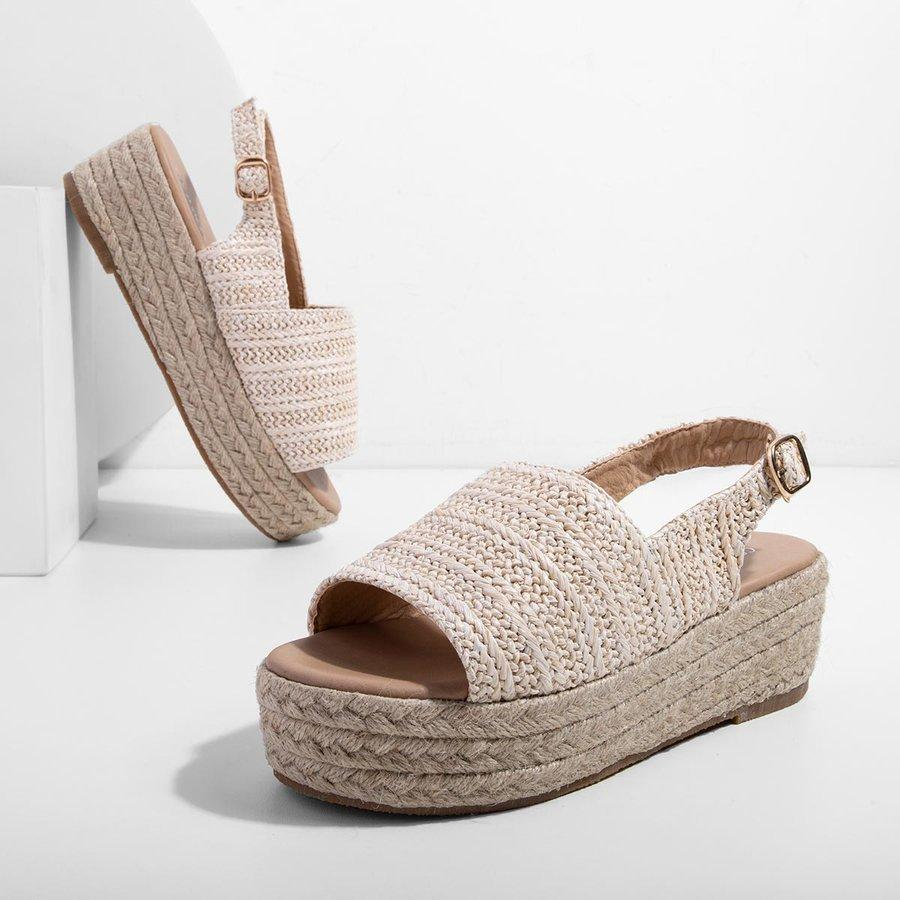 Weaving Espadrille Platform Sandals Summer Peep Toe Sandals herhershoes