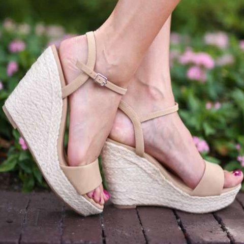 Women Wedge Sandals Casual Peep Toe Adjustable Buckle Sandals Shoes herhershoes
