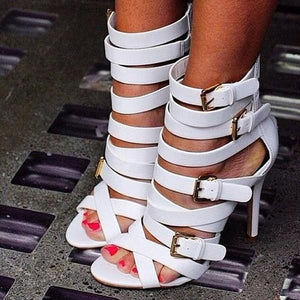Heel Covering Open Toe Stiletto Heel Zipper Buckle Low-Cut Upper Sandals herhershoes