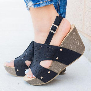 Women's Wedge Heel Open Toe Hollow-out Sandals herhershoes