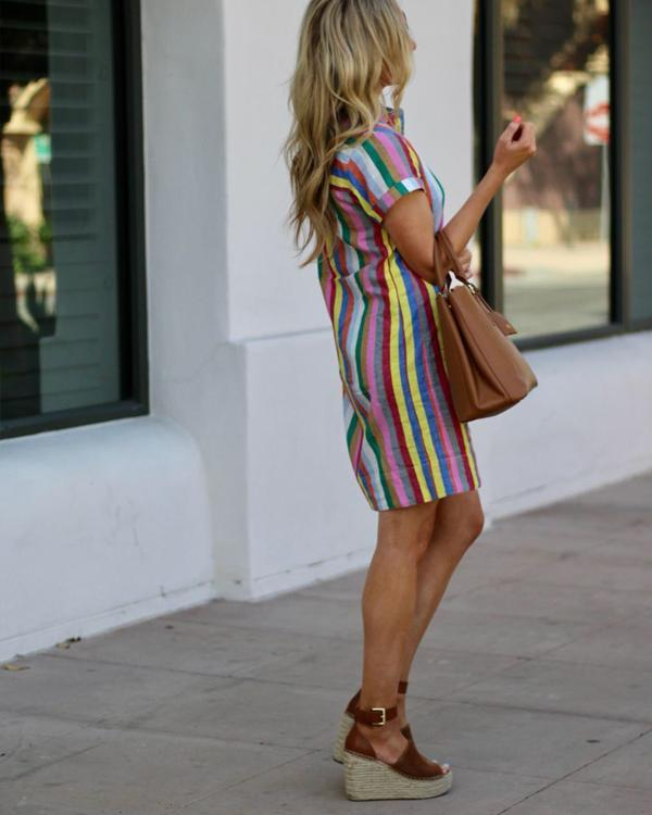 Fashion Short Sleeve Turn Down Collar Striped Dresses herhershoes