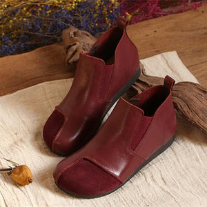 Original Hand-made Vintage Casual Simple Soft Bottom  Leather Flat Boots herhershoes