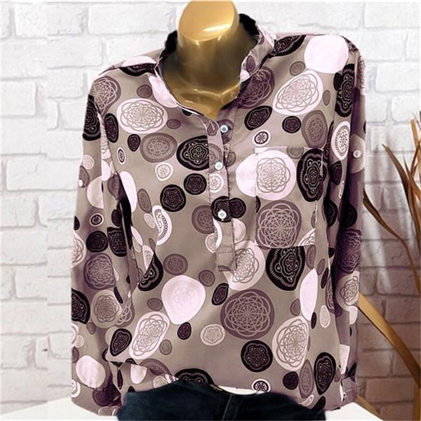 Stand Collar Polka Dots Long Sleeve Blouse herhershoes