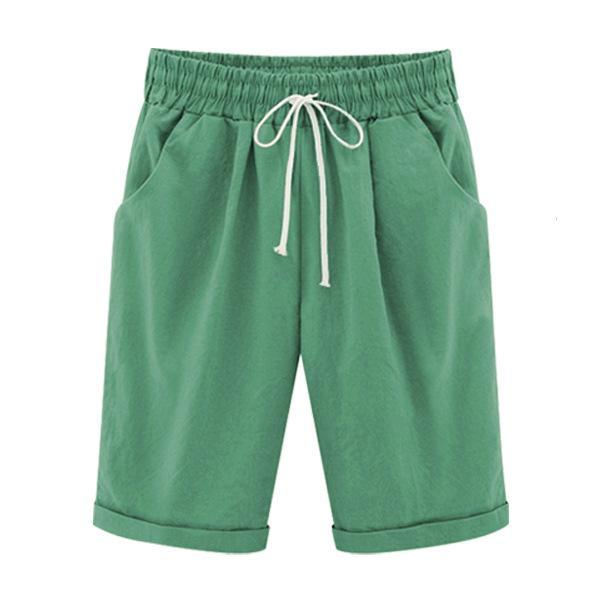Summer Shorts Lace Up Elastic Waistband Loose Solid Pants herhershoes