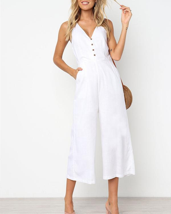 Fashion Sleeveless V Neck Solid Button Wide Leg Jumpsuit herhershoes
