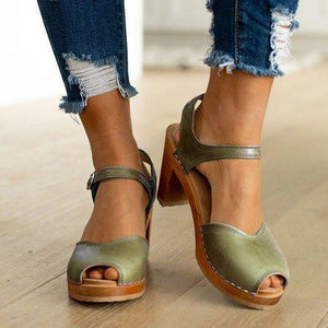 Orange Peep Toe Casual Sandals herhershoes