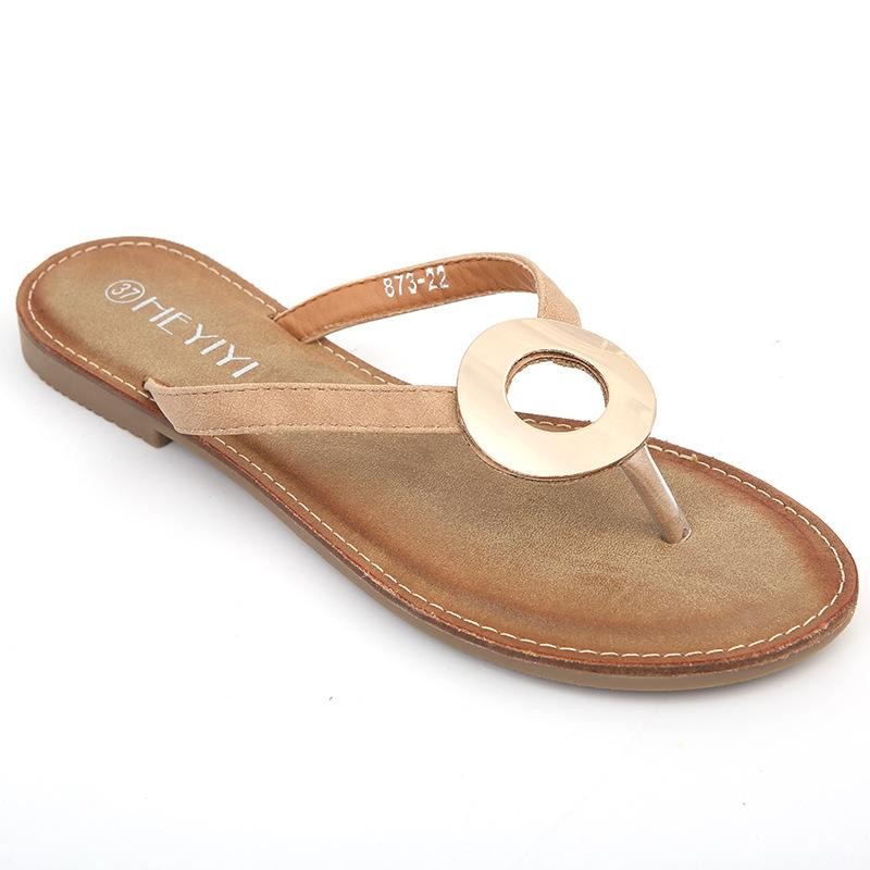 Women Flat Heel Slip On PU Beach Slippers herhershoes