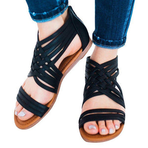 Women Leather Sandals Casual Zipper Shoes herhershoes