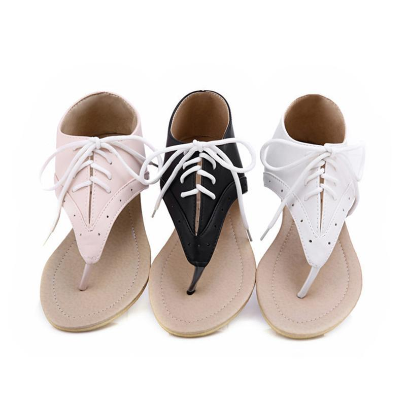 Women Lace up Flat Sandals Casual Female Cover Heel Shoes herhershoes