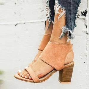 Holiday Vintage Chunky Heeled Zipper Sandals herhershoes