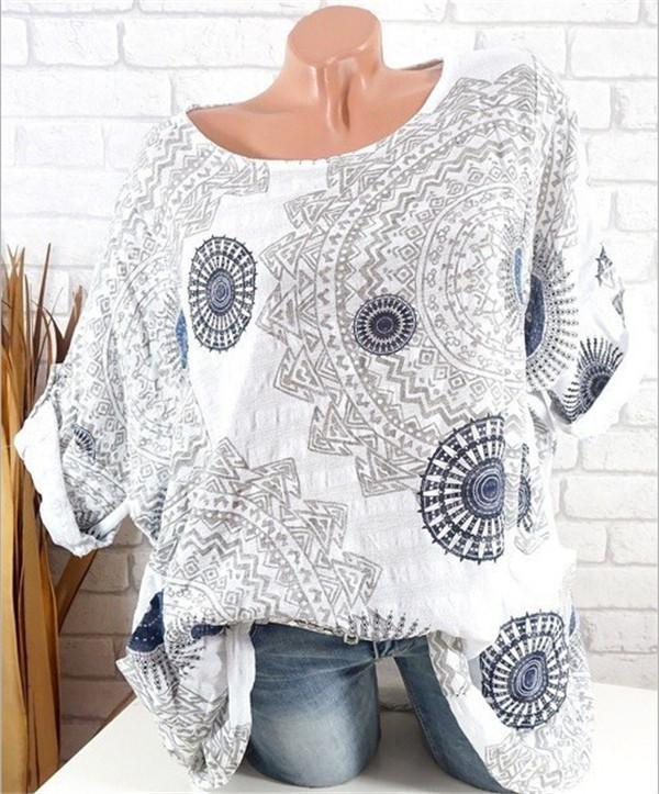 Plus Size Women Floral Printed Fashion Blouse Casual Loose Tops herhershoes
