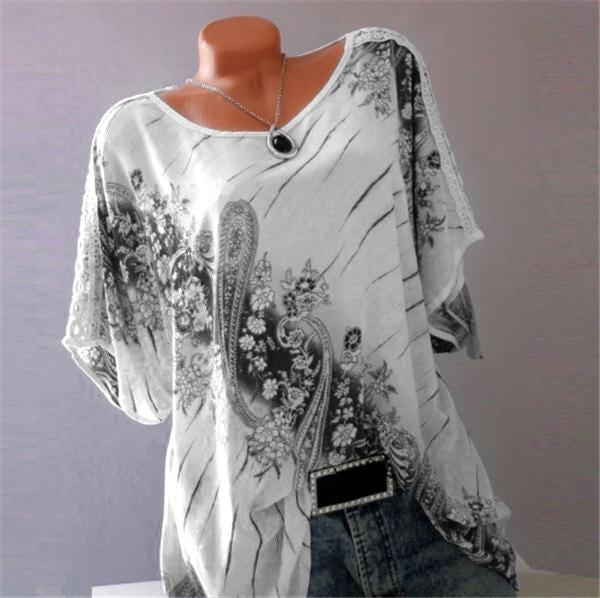 Plus Size Women Fashion Blouse Casual Loose Floral Printed Tops herhershoes