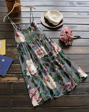 Plus Size Lady Daily Floral Print Summer Dress Sleeveless Mini Dress herhershoes