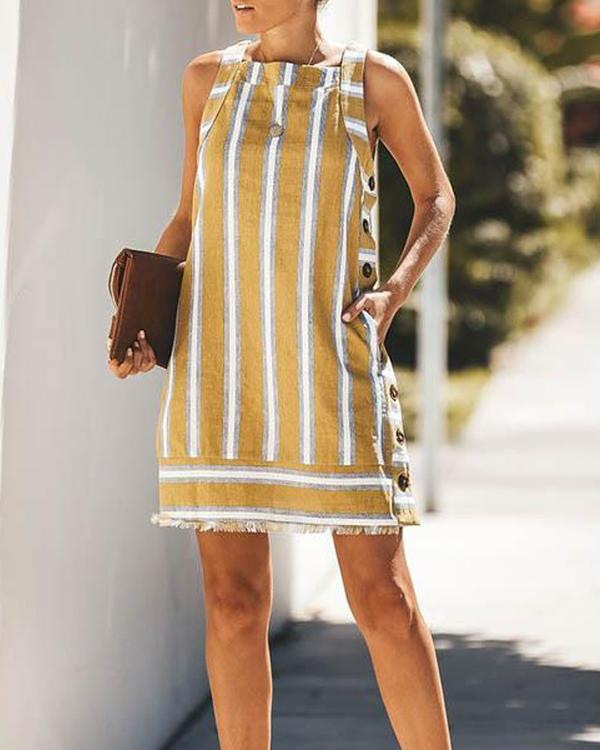 Summer Sleeveless Vacation Striped Button Mini Dress herhershoes
