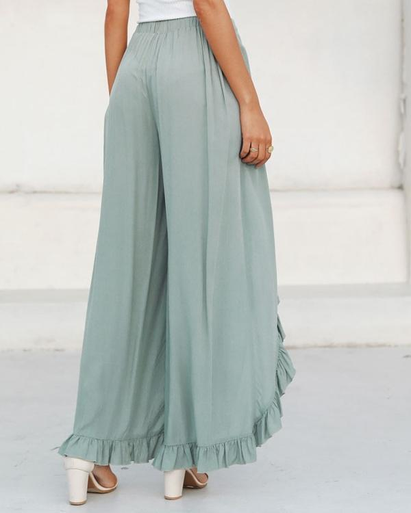 Fashion Ruffle Solid Casual Wide Leg Pants herhershoes