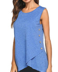 Asymmetrical Sleeveless Button Decorated T-Shirts Tops herhershoes