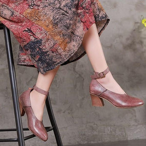 Handmade Adjustable Buckle Leather Med Heel Boots Women Sandals herhershoes