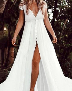 Sexy Lace Sleeve V Neck Button Vacation Maxi Dresses herhershoes