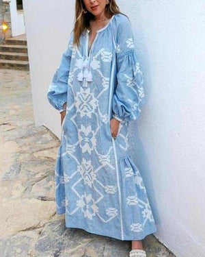 Bohemian Bishop Sleeve Printed Color Maxi Plus Size Dresses herhershoes