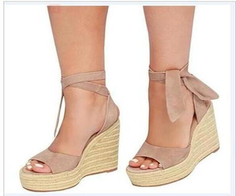 Women Wedge Heel  Artificial Suede Sandals herhershoes