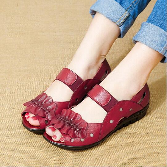 Peep Toe Leather Elastic Band Hollow Out Flat Comfortable Sandals herhershoes
