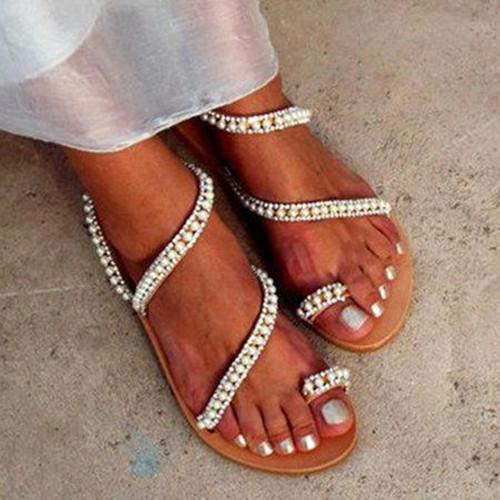 Imitation Pearl Pu Sandals Flip-Flops Summer Sandals herhershoes