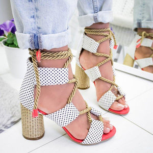 Casual Suede High Heel Lace Up Sandals herhershoes