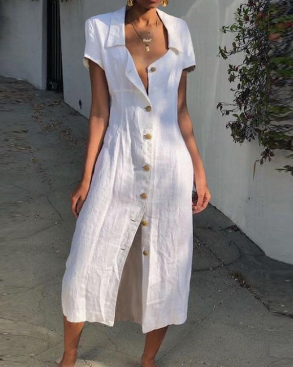 Summer Buttoned Solid Casual Shirt Dresses herhershoes