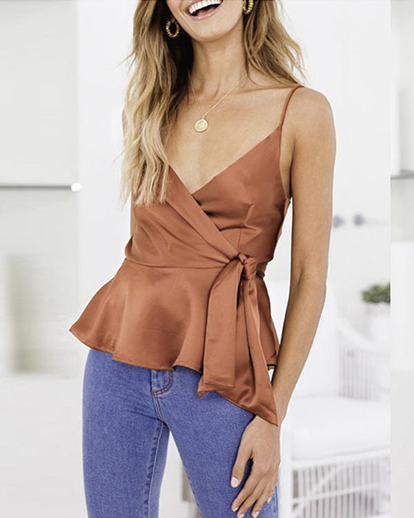 Summer Sexy Sling Ruffled V-Neck Solid Vests Tops herhershoes