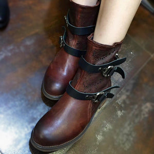 Women Vintage Causal Zipper Low Heel Boots herhershoes