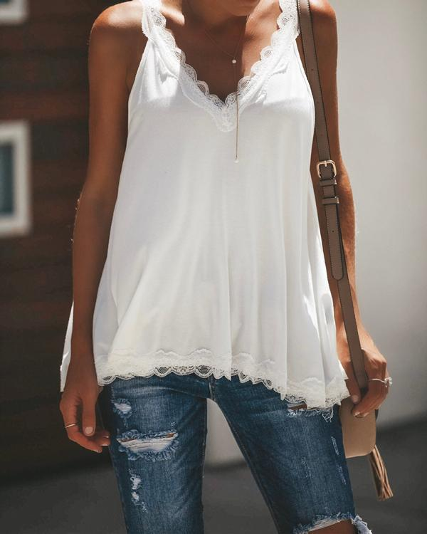 Women Casual  V Neck Paneled Spaghetti Solid Sexy Camis Tops herhershoes