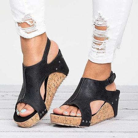 Peep Toe PU Blocking Hook-Loop Wedge Sandals herhershoes
