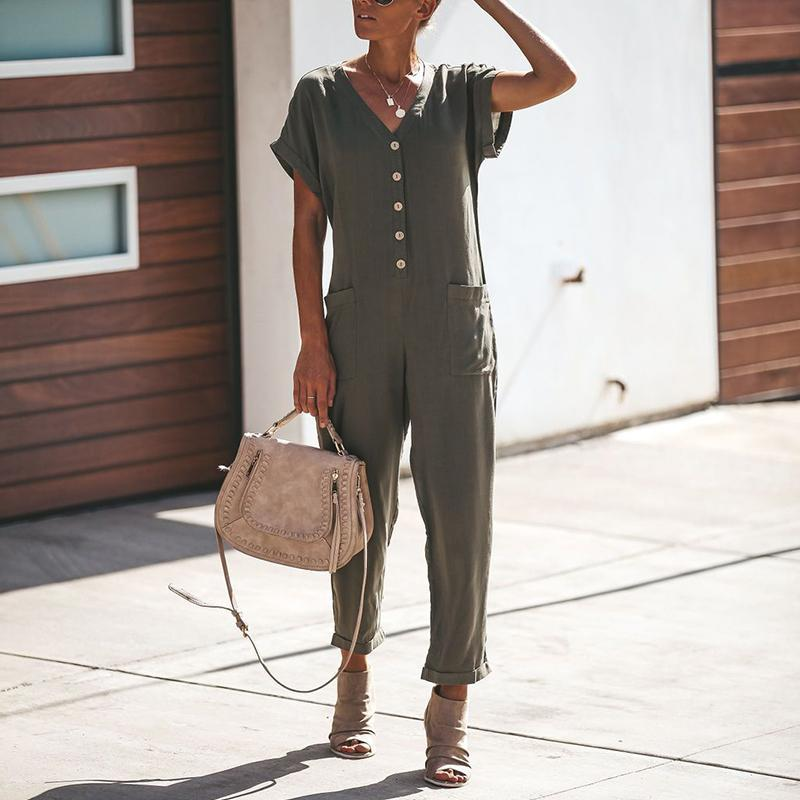 V Neck Plain Pocket Short Sleeve Fashion Jumpsuits herhershoes