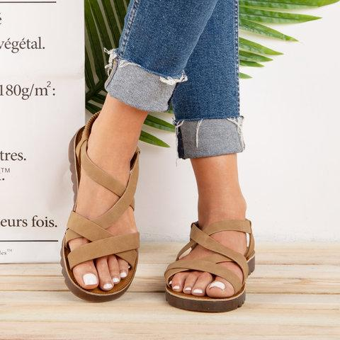 Ankle Strap Sandals Pu Elastic Band Sandals herhershoes