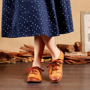 Women Vintage Leather Lace-up Loafers Flat Shoes herhershoes