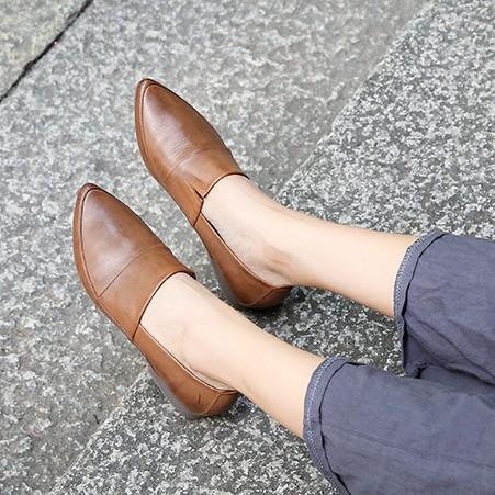 Pointed Toe Low Heel Shoes Simple Comfortable Loafers herhershoes