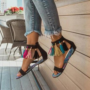 Women Boho Back Zipper Tassel Color Block Flat Heel Peep Toe Sandals herhershoes