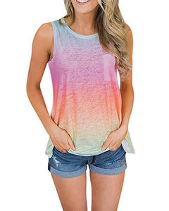 Summer Colorblock Crew Neck Sleeveless Pockets Tops herhershoes