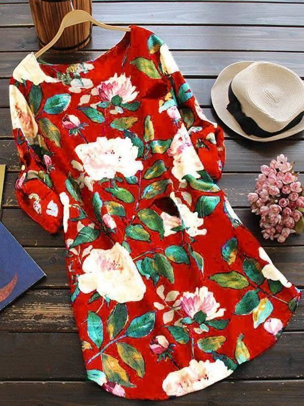 Round Neck Floral Printed Long Sleeve  Plus Size Blouses Dress herhershoes