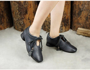 Original Retro Leather single shoes Low-Heel Women's Lofers Shoes herhershoes
