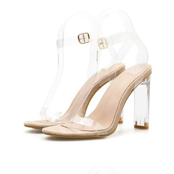 Chunky Heel Line-Style Buckle Ankle Strap Open Toe Casual Plain Sandals herhershoes