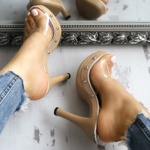 Women PVC Pumps Embellished Platform Transparent Heel Shoes herhershoes