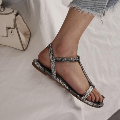 Women Artificial Leather Flat Heel OpenToe Sandals herhershoes