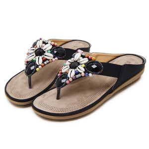 Slip-On Thong Beads Casual Sandals Summer Flat Slippers herhershoes