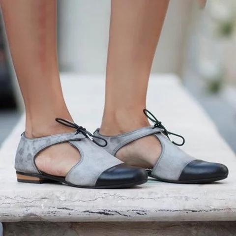 Women Casual Sandals Casual Bowknot Lace Up Vintage Sandals Shoes herhershoes