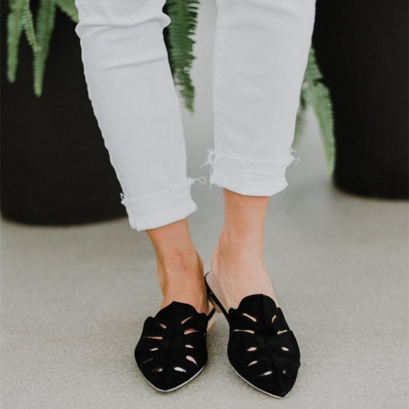 2019 Casual hollow faux leather mules herhershoes