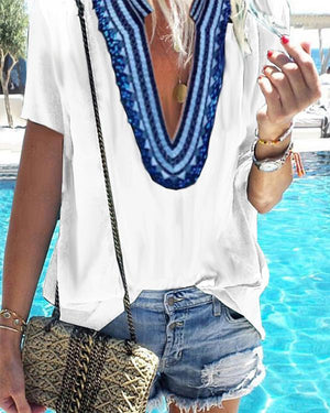 Printed V-Neck Casual Short-Sleeved T-Shirts Tops herhershoes