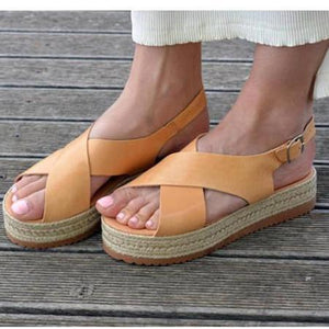 Leather Flatform Sandals Criss Cross Sandals herhershoes
