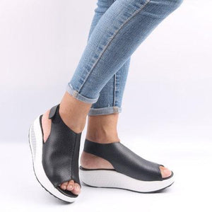 Casual Microfiber Leather Wedge Heel Magic Tape Sandals Shoes herhershoes