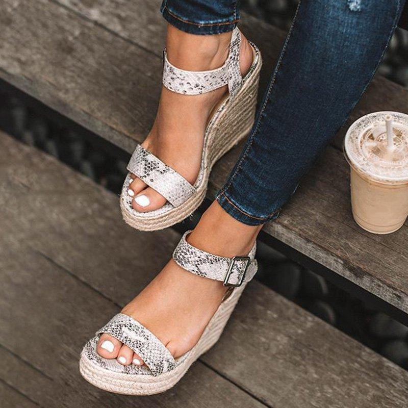 Women Elegant Adjustable Buckle Espadrille Wedges Sandals herhershoes